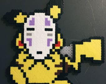 pikachu x no face perler kandi necklace