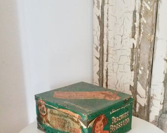 French Biscuit Tin, Biscuit Brossard, Rustic Kitchen Decor, Tin Collectibles