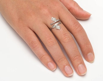 FREE SHIPPING - Unique silver ring, Cubic zirconia pave ring, 925 sterling silver engagement ring, Cubic zirconia engagement ring