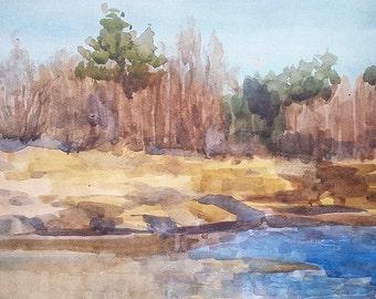 spring watercolor landscape