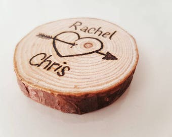 Personalised log slice, wooden keepsake, wedding gift, pyrography, tree slice, magnet, anniversary