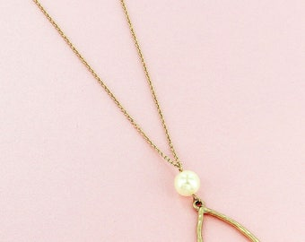 Goldtone or Silvertone and Pearl Marquise Pendant Necklace