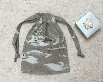 unique smallbag linen painted - pattern winter - reusable bags - zero waste