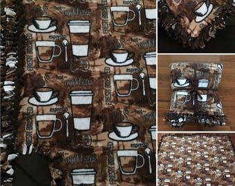 LARGE Coffee Anyone Espresso Handmade Fleece Tie Blanket   55x65   Coffee Cup Bedding   Espresso Home Decor
