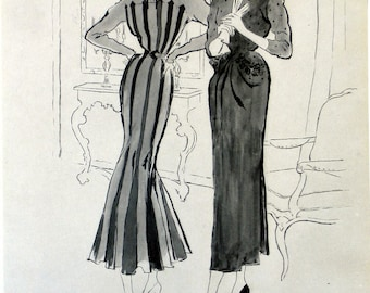 2 french haute couture illustration . Jeb.1948 the official sewing and fashion of paris.fashion illustration ads mode french