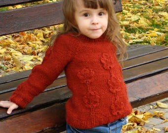 Maple leaves Sweater, Knitted sweater, Kids sweater, Alpaca sweater,girl jumper