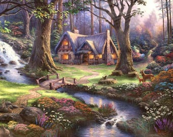 Landscape painting cross-stitch,house by the river cross stitch,landscape instant download,nature embroidery