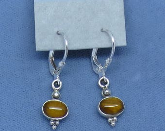 Tiny Tiger Eye Leverback Earrings - Sterling Silver - Victorian Antique Design - Dainty Petite - 170803