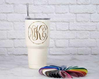 Gold and Off-White Monogrammed Yeti or Hogg Tumbler