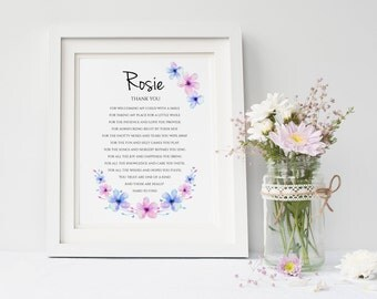 Babysitter gift etsy personalised thank you print end of term gift teacher print daycare print negle Choice Image