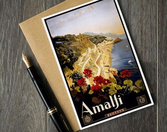 Amalfi Italy birthday card, Italian greeting card, Italy travel posters, Italy Christmas card, Italy bon voyage card, travel retirement card