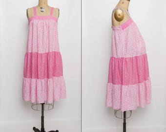 vintage 70s maternity dress | pink floral sundress