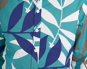 Mens 100% Cotton Long Sleeve Slim Fit Shirt Green Blue White Brown Tropical Flowers leaves Print