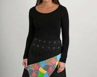 Reversible A Line Black Wool Multi Colour Cotton Skirt with Pocket Long Length