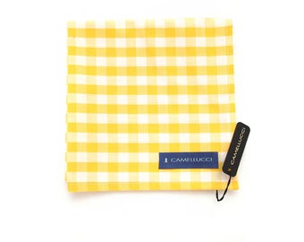 Men's Yellow Cotton Pocket Square Handkerchief Hanky Hankie Squares Tie Suits Men