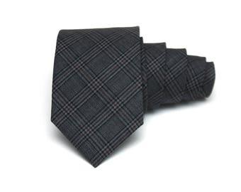 Grey plaid Wool Tie Men's skinny tie Wedding Ties Necktie for Men 202tw
