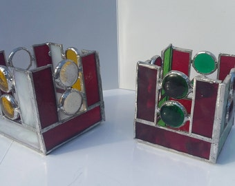 Fused and stained glass tealight holder