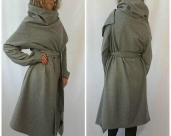 Grey Long Wool Coat / Winter Cape Coat / Women Poncho Coat / Long Sleeves Trench Coat / Women Jacket / Oversize Vest