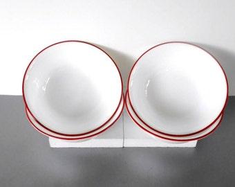 Corelle Red Trimmed Bowls,Set of 4 Cereal or soup bowl,Dinnerware,Salad bowl,Dessert Dish,Corelle White bowl