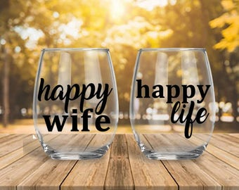 Happy Wife | Happy Life | Couple Gift | Anniversary Gift | Wedding Gift | Birthday Gift | Funny Couple Gift | Engagement Gift | Funny Gift |