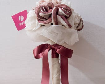 Burgundy fabric and Pink Bouquet