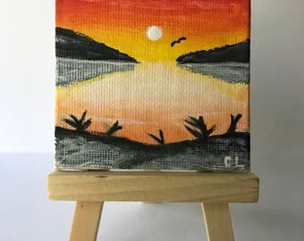 Peaceful Sunset Mini Canvas Painting