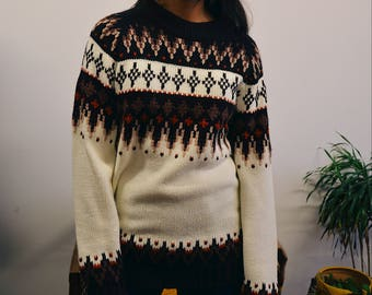 60s Silton California Winter Knit Pullover, Vintage Classic Knit Sweater
