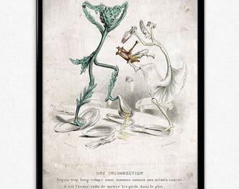 Kitchen Humor Vintage Print 1 - Upset Vegetables - Vegetables Poster - Vegetables Art - Kitchen Decor - Kitchen Art - Botanical - Varin