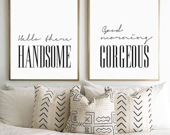 Hello There Handsome, Good Morning Gorgeous, Bedroom Art, Bedroom Couple Print, Modern Minimalist Typography Art