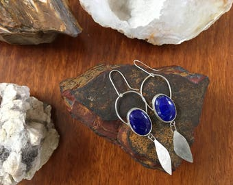 Sterling Silver Dangle Earrings with Lapis Lazuli Stones