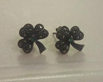 Irish Silver Shamrock Earrings