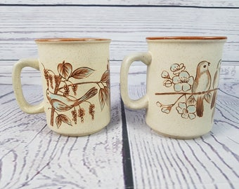 Vintage Lot of 2 70s Cute Birds on Branch Stoneware Ceramic Mug Coffee Cup Novelty Retro Decor Break Time Tea Hot Beverages Northcraft Korea