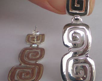 Ancient Greece Meander Sterling Silver 925 Earrings - Maiandros Design