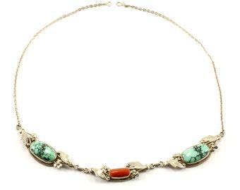 Vintage Antique Spiderweb Turquoise Mookaite Floral Design Necklace 925 Sterling NC 168-E