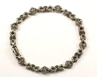 Vintage Celtic Design Crystal Marcasite  Link Bracelet 925 Sterling BR 29-E