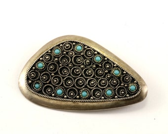 Vintage Scroll Design Turquoise Pin/Brooch 925 Sterling Silver BB 901