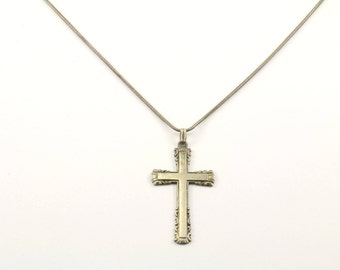 Vintage Cross Religious Necklace Silver NC 905