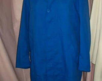 Vintage nylon blouse men workwear, blue