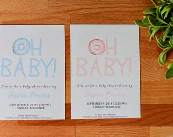 Oh Baby Baby Shower Invitations, Boy Baby Shower, Girl Baby Shower, Donut, Printable or Printed, Digital