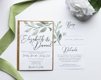 PRINTED Calligraphy Wedding invitation, Greenery Wedding Invitation, Minimal Wedding Invitation, RSVP, Detail Card, Printable or printed