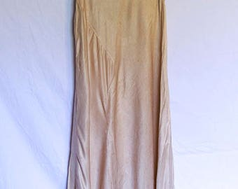 1930s Satin Bias Cut Gown Beautiful Details - AS IS