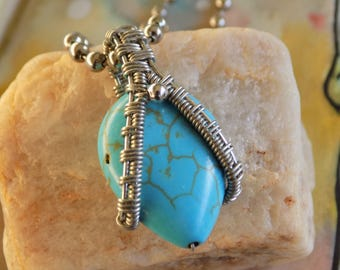 Wire Wrapped Howlite Pendant on sale - Heady Wire Wrap - Turquoise Gemstone Wire Wrap - Handmade Unique Festival Jewelry - Egyptian Jewelry