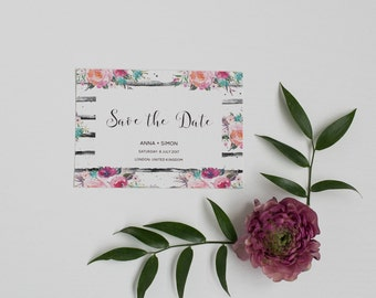 Printable Rustic Floral Save the Date card - Printable Digital PDF Template  - Spring Save the Date card