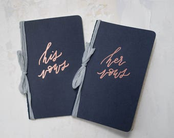 Navy Calligraphy Vow Books (Set of 2) / Personalized Vow Journals