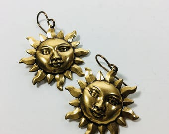 Detailed Sun Earrings in Oxidized Brass by Ten Dollar Studio where all items are always Ten dollars