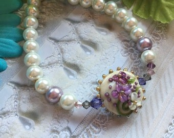 Lavender and Cream Flower/Floral Bracelet, Lampwork Jewelry, SRA Lampwork Bead Bracelet, SRA Lampwork Jewelry,  Gift, Gift For Her