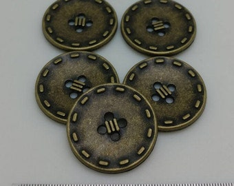 Vintage metal 4 hole Sew On Button with Embossed Stitching Logo, Antique brass, 15 Pcs, 27L(Diameter 17mm)