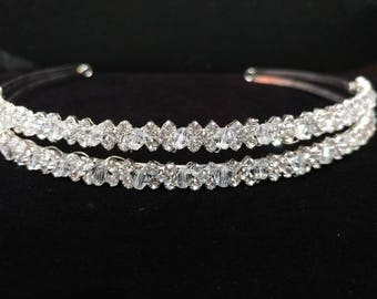 Crystal headpiece wedding, bride hairpiece