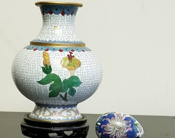 Chinese Cloisonne vase with egg