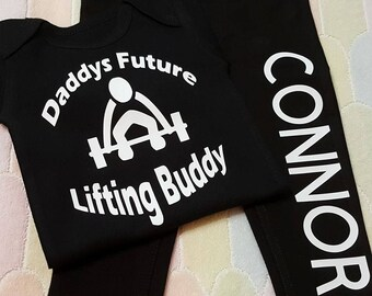 Daddy's Future Lifting Buddy - Can Also Do Mommy - Pants and Onesie Set